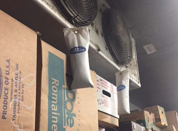 fresh food in warehouse with air add